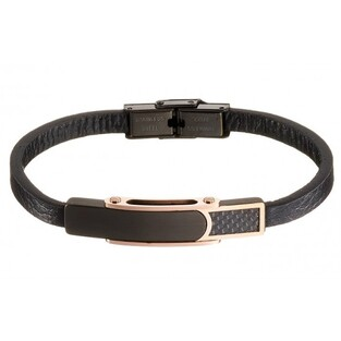 BRACELET LEATHER - STAINLESS STEEL - CARBON FIBER