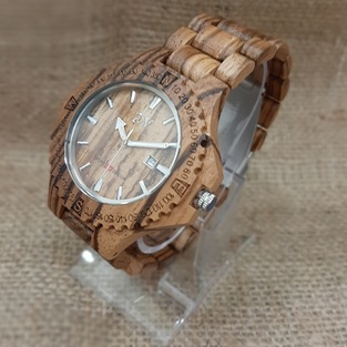 WOODEN WATCH GV WITH BRACELET - BROWN