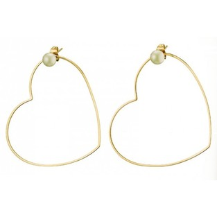 EARRINGS STAINLESS STEEL 316L - HEARTS PEARL GOLD