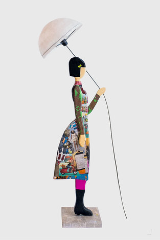 FLOOR LAMP LADY WITH UMBRELLA - COLLAGE