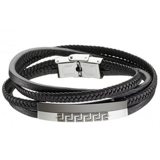 BRACELET BRASS  LEATHER - STAINLESS STEEL